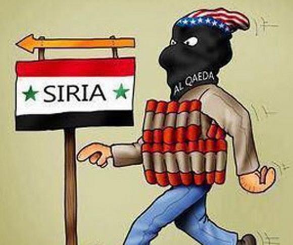 Otra siniestra y esclarecedora caricatura. La misma organización que destruyó las Torres Gemelas domina militarmente ell frente terrestre en Siria, tras su actividad sangrienta en Libia.