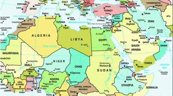 Mapa Africa del Norte (Magreb) y Medio Oriente, con Siria.