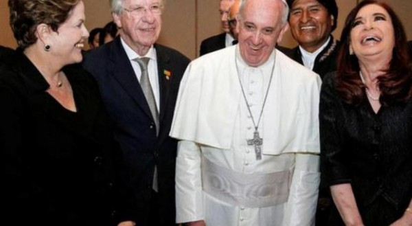 Dilma Rousseff, Danilo Astori (vice de Uruguay), Bergoglio y Cristina Fernández de Kirchner.