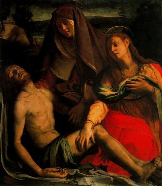 """""""Cristo muerto llorado por la Virgen, su Madre, y Magdalena, la prostituta"""" (1540)"""