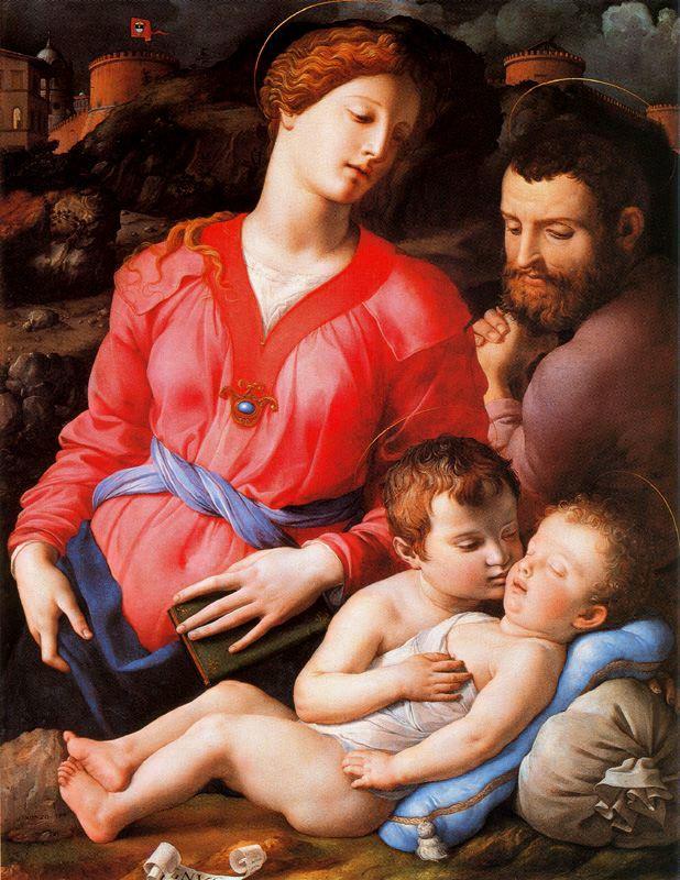 """""""La Sagrada Familia Panciatichi"""". 1534-1535. P´retese atención a la forma en que el bebote se acerca para besar al lactante, en especial la posición de su mano. Bronzino, es claro, tenía sus obsesiones o hacía clandestinas sus bromas (eróticas) mediante el pretexto de la inocencia religiosa."""