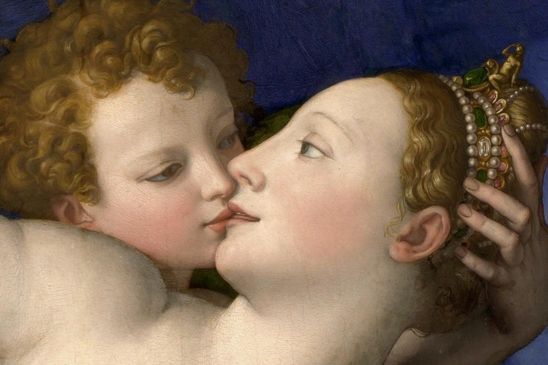 (Detalle) Cupido acerca su boca a la de su madre, Venus.