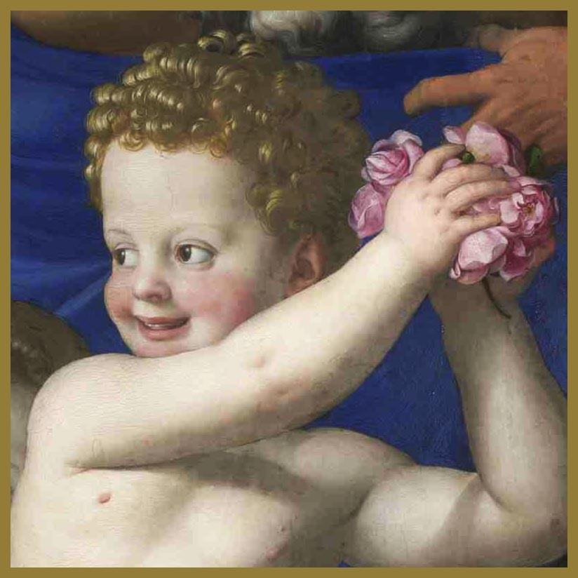 El angelote arroja pétalos a Venus. Está alegre, la estimula. Aprueba y festeja la acción amoroso-sexual de Venus.