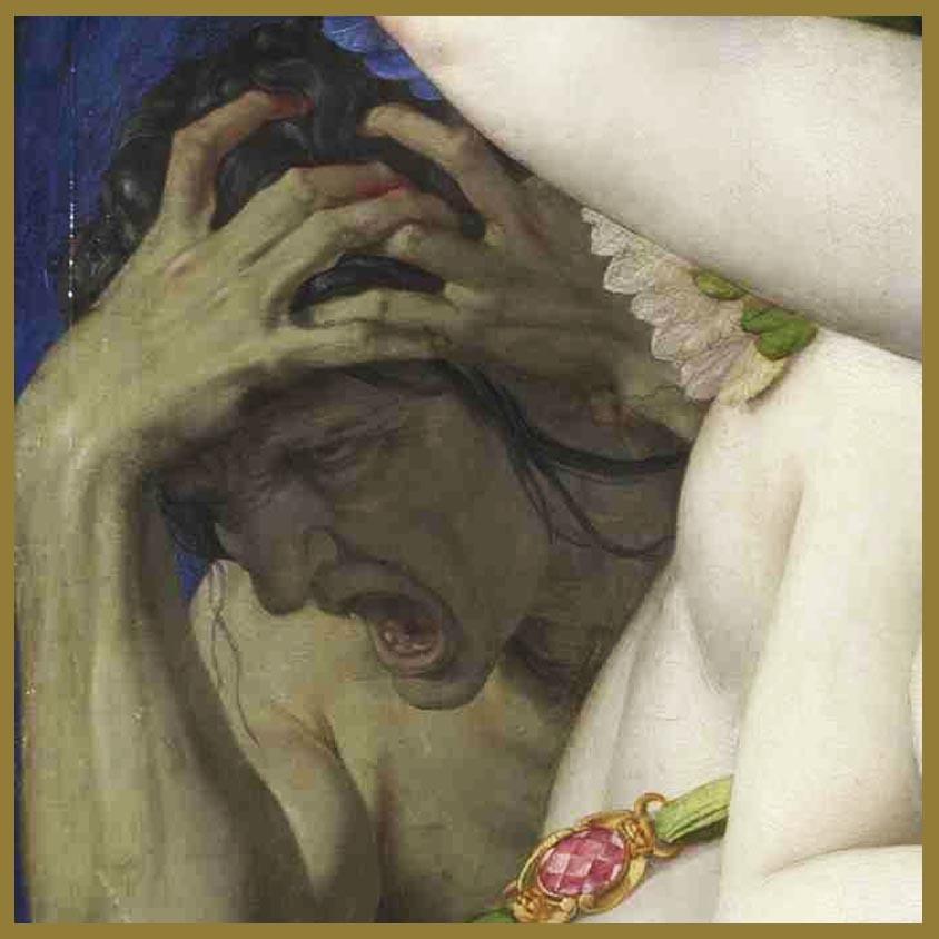 Los celos, la envidia, se agarra la cabeza. En todo amor, el sexual también, hay siempre alguien que envidia. Galería Nacional de Arte de Londres.