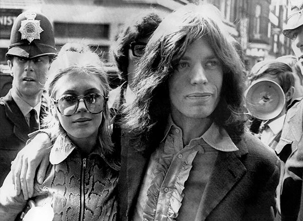 Marianne Faithfull en sus años con Mike Jagger.