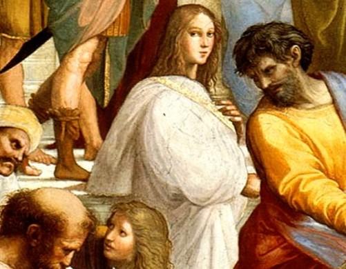 Hipatia de Alenadría, en una representación -integra un frescoanterior a la figura de más arriba-, en la que en apariencia su presencia física sería más veraz. Para algunos historiadores murió virgen y para otros no, y a parecer estuvo casada.