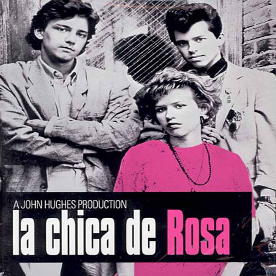 """""""La chica de rosa"""", y su trío de héroes: Andrew McCarthy a la izq. y Jon Cryer a la der."""