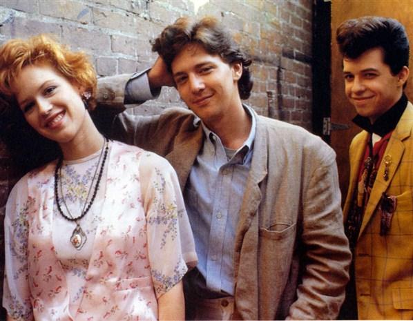 """El trío de rotagonistas de """"La chica de rosa"""": Molly, Andrew MCCarthy y Jon Cryer."""