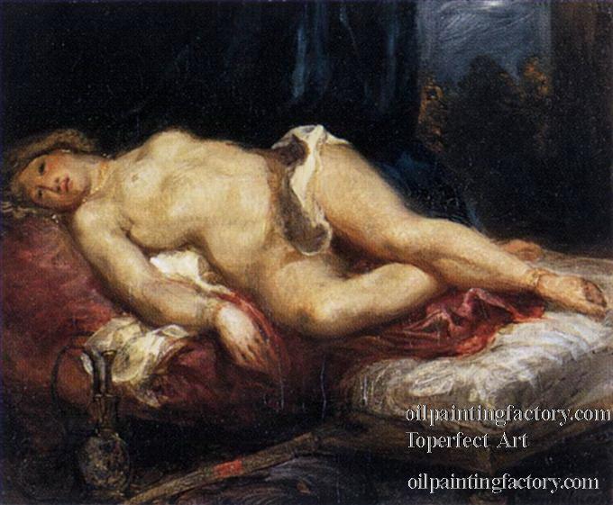 Pintura de Eugene Delacroix, maestro absoluto de la pintura del Romanticismo. Odalisca recostada en su diván.