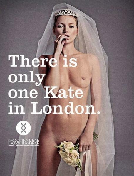 "Kate Moss, novia, Venus Púdica que cubre su pubis a medias. ""Kate Moss hay una sola en Londres"". Tapa de revista."