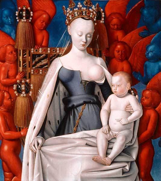 Virgen de Melun, díptico de Jean Fouquet, de 1450. Una parte está en Berlín y otra en Amberes. Al parecer la Virgen se inspira (el rostro y el seño desnudo) en Agnes Sorel, amante de Carlos VII.