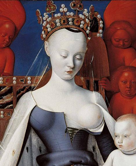 Virgen de Melun (detalle), de 1450. De Jean Fouquet, en Museo de Amberes. El rostro se inspiraría en Agnés Sorel, amante famosa y poderosa de Carlos VII.
