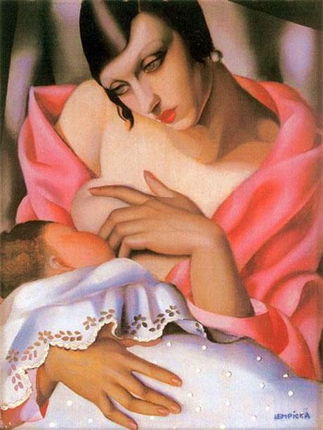 Tamara de Lempicka no resisitó la tentación de dar su versión de la Maternidad, inspirada en las representación europeas del 1400.
