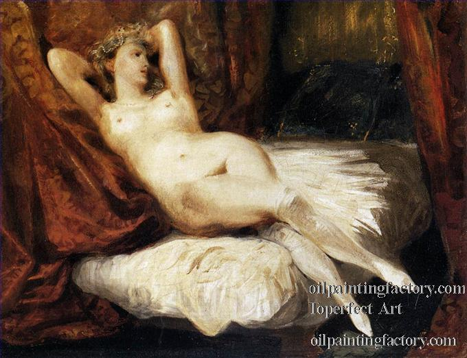 Mujer desnuda reclinada en diván, de EUGENE DELACROIX, figura máxima del romanticismo francés, o del romanticismo a secas, en el siglo XIX.