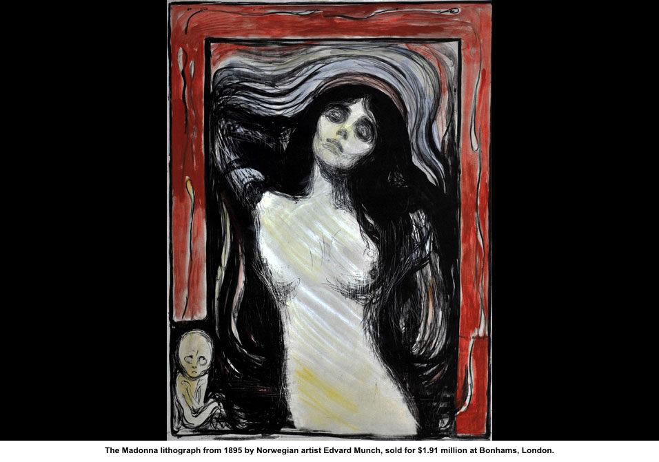 """Edvard Munch, noruego (1863-1944), célebre autor de """"El grito"""", a los 22 años se enamoró  sin restricciones de Milly Thaulow. Dijo: """"Me encontré detenido ante el misterio de una mujer"""". Este cuadro, titulado """"Madonna"""" o """"Mujer amante"""", de 1893-1894, captó la """"fragilidad, paradójicamente invencible, del alma femenina"""". Se la interpreta también como """"la toma cenital de una mujer envuelta en aguas oceánicas que, quizás, terminaran haciéndola encallar en una playa de implacable soledad""""."""