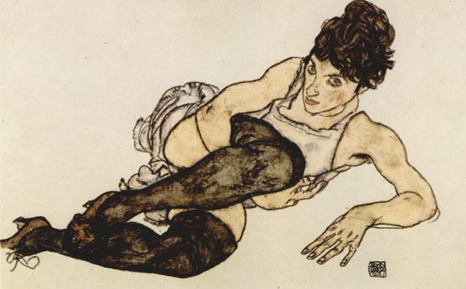 Egon Schiele. Austria (1890-1018). Uno de los antecesores más destacados de la tedencia expresionista, siempre con fuerte contenido erótico sobre la mujer y sus negruras corporales, vello o medias.