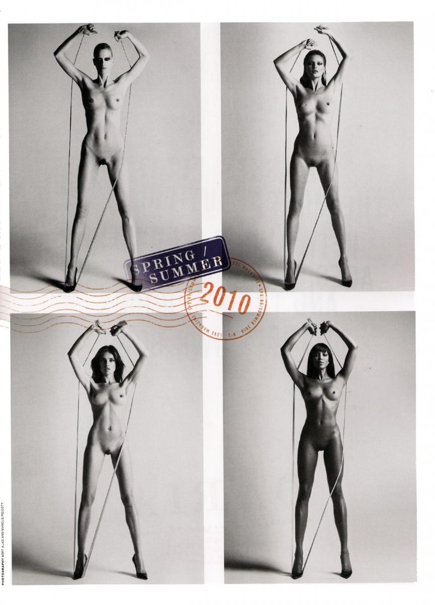 Marcus Piggott y Mert Alas. Arriba, a la derecha, Kate Moss. Abaajo a la derecha, Naomí Campbell.