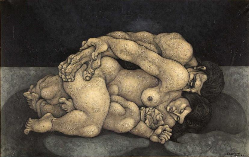 RIcardo Carpani. Los amantes. (expuesto en Subastas de Arte Roldan, 2012). Pintor argentino célebre por su arte proletario.