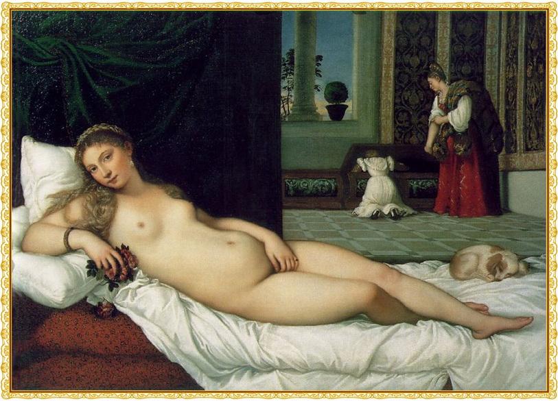 Venus de Urbino, Tiziano (1538). Escuela Venenciana. galería Uffizi, Florencia, Italia.una pintura de un metro y medio o poco más de ancho.