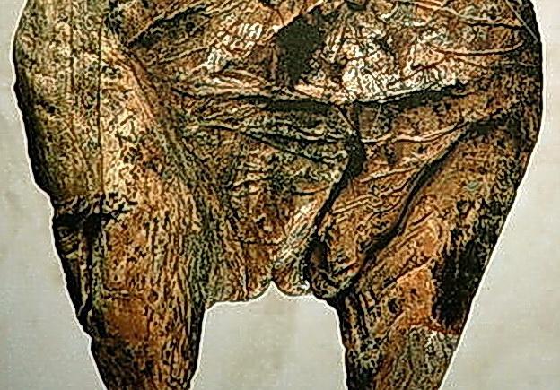 Venus (detalle) vulva-figurine-from-Hohle-Fels-Schwaben-Germany, la más antigua del mundo, en Alemania.jpg