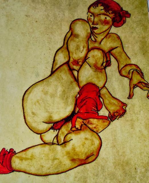 EGON SCHIELE, 1915. Mujer desnuda con pierna derecha levantada.