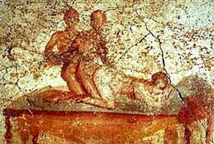 Pompeya. Mural en las Termas, a las cuales solo podían concurrir los ciudadanos, y no los esclavos. Eran público y solo semiclandestinos, son sin cierta aceptación social.