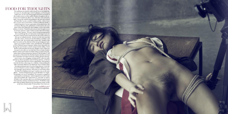 """NICOLAS GUERIN en una de sus acostumbradas situaciones fashion en torno al bondage derivado del arte japonés de las ligaduras del juego sexual y que ahora han despertado por la película """"Las 50 sombras de Gray""""."""