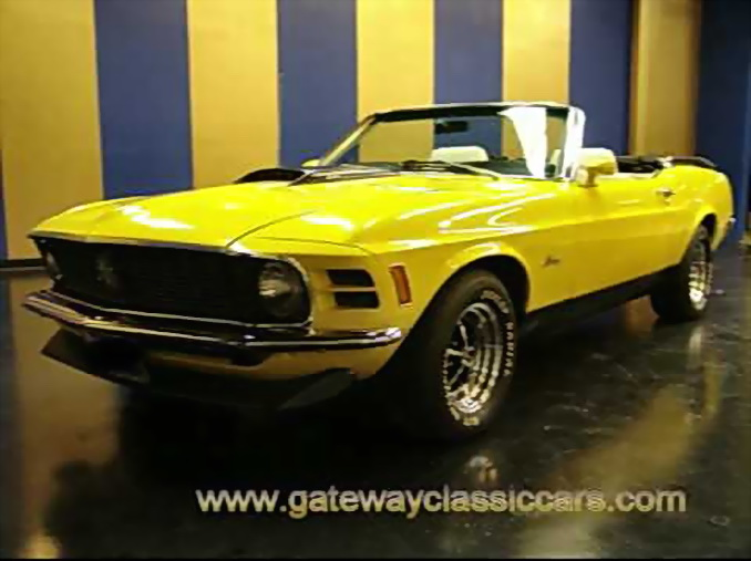"""Sold"" Mustang 1970 convertible amarillo. Los vendederpres recomendaban hace unos años años: ""800-231-3616 for additional details."""
