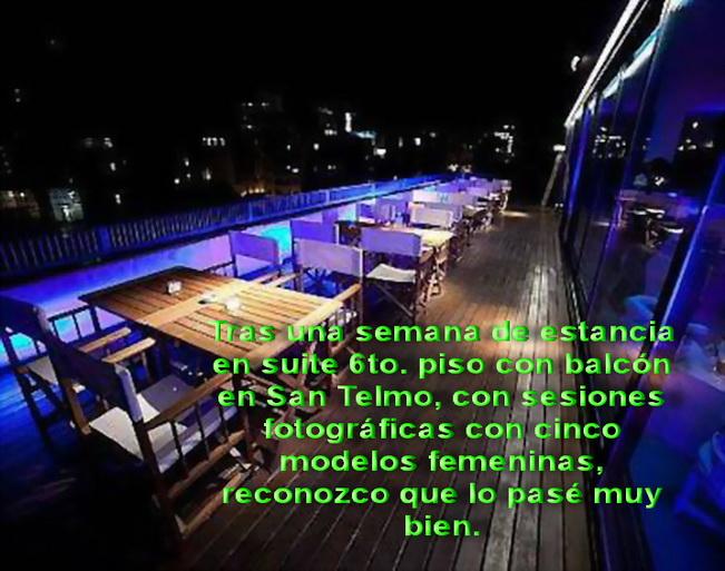La terraza de la suite en 7mo. piso, en México y Tacuarí, barrio de San Telmo en Buenos Aires. Una semana de clima otoñal cálido.