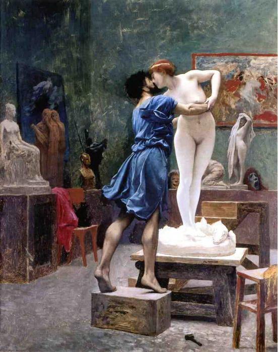"""Jean-leon Gerome fue un poco más lejos y directamente pintó a Pigmalión besando a Galatea, su creación. Así ella cobra vida y él no puede resistir la belleza desnuda de ella, su """"hija"""" y amada."""