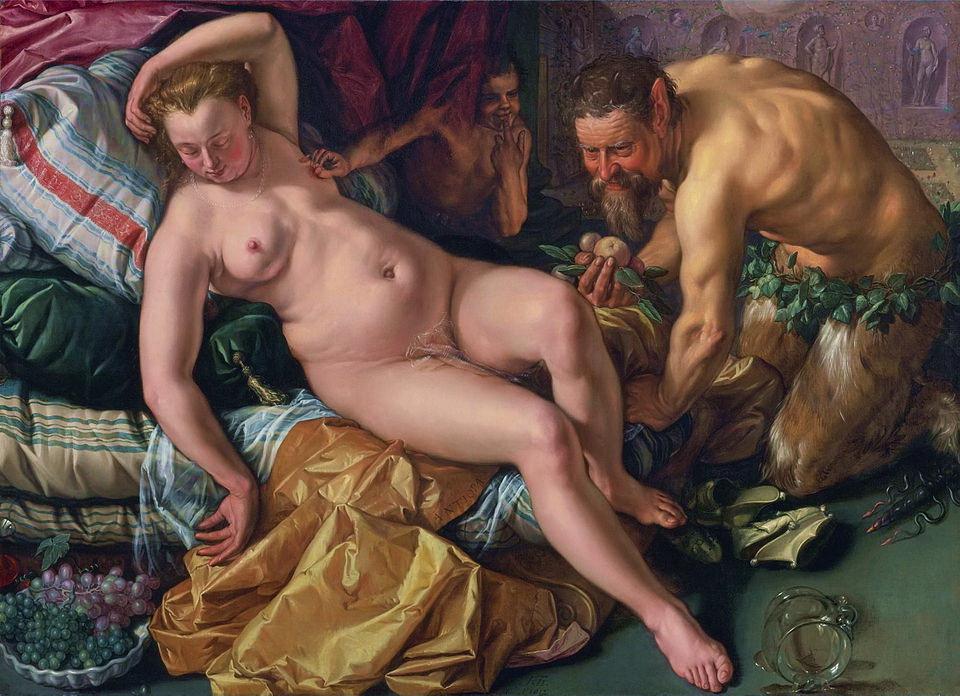 Hendrick_Goltzius. Jupiter besluipt Antiope in de  gedaante van een sater (612)