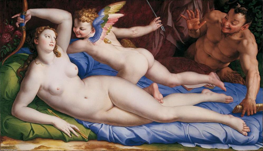 """AGNOLO BRONZINO. """"Venus, Cupido y el Sátiro"""" (1554, quizás.) En 1556 la menciona VASARI, pero hay variantes ya que en algunas versiones Venus aparece cubierta y en otras desnuda, como en la ilustración que consigno. (Amilcar Moretti)"""
