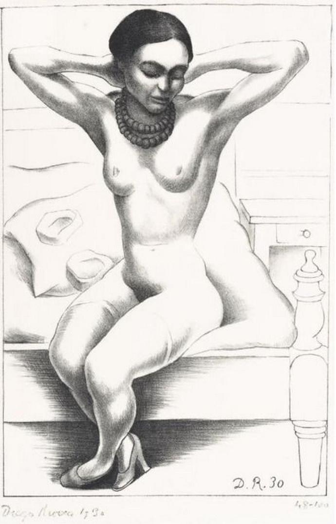 Frida Kahlo dibujada por Diego Rivera, su esposo, mujeriego empedernido.