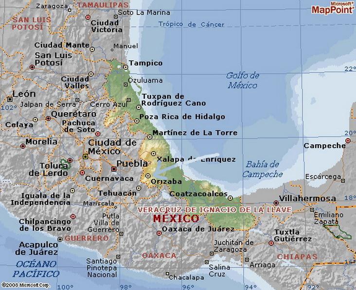 Estado de Veracruz, con el principal puerto comercial nexicano sobre el Golfo de México. En el centro, a 400 Kms. de México Distrito Federal, la ciudad de Orizaba,