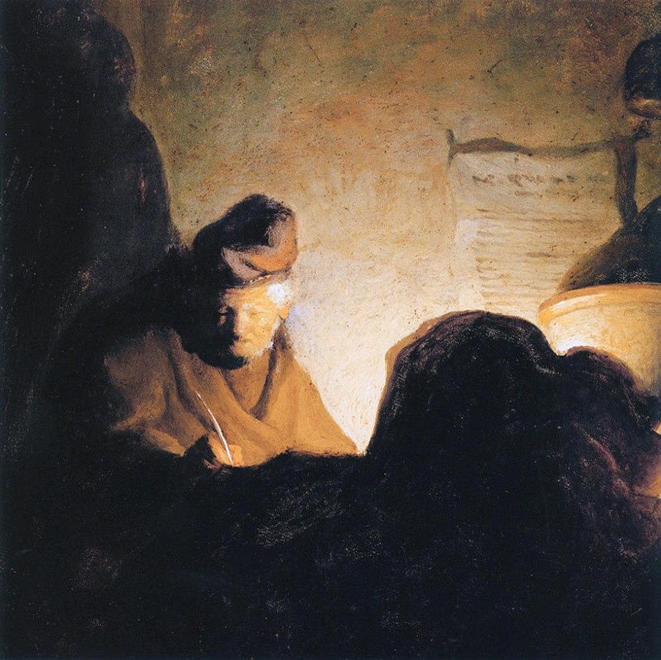 """""""El estudiante a la luz de la vela"""", de Rembrandt (1628)."""