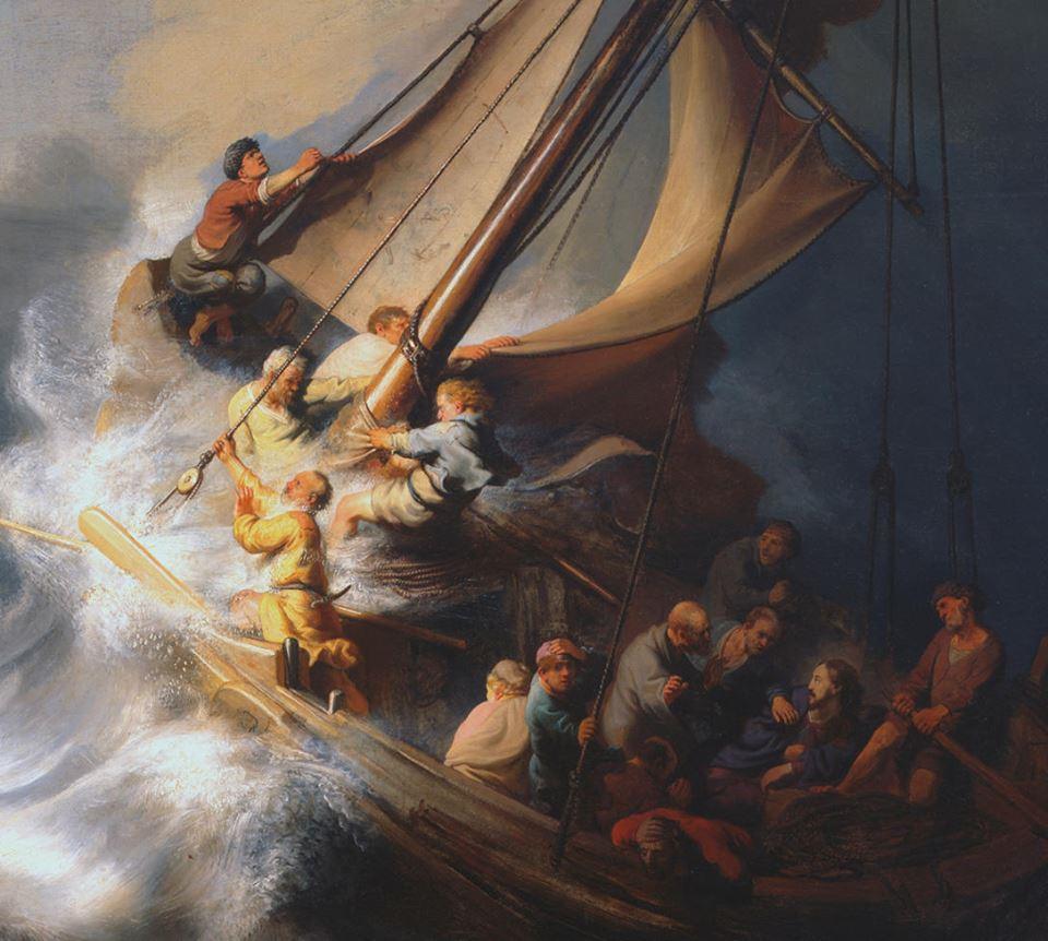 REMBRANDT. (Detalle) Cristo en la tormenta durante el cruce del Mar de Galilea (1633)
