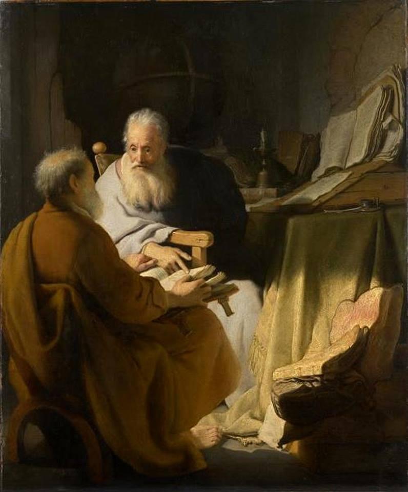 """""""EL DEBATE DE DOS ESTUDIOSOS"""", de Rembrandt (1628)"""