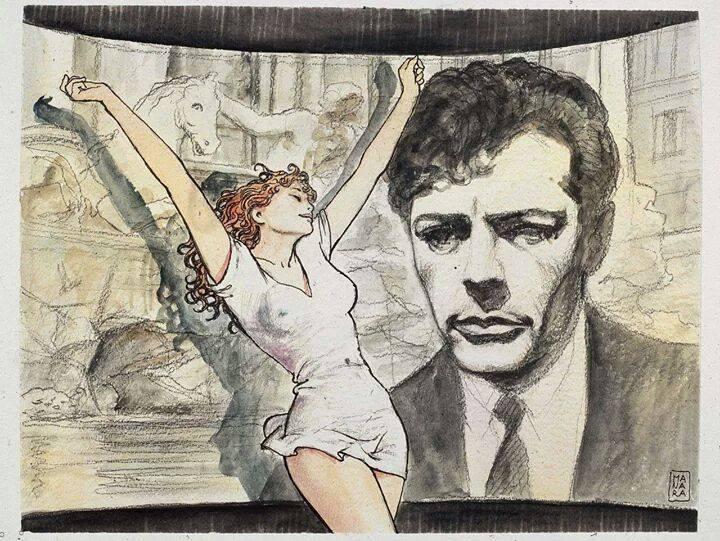 MILO MANARAy su cómic erótico convertido en arte de calidad, junto a Marcello Mastroianni y ¿Prisca?