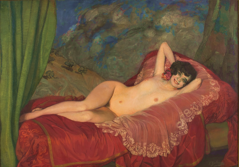 1922: MARCOS ZULOAGA, Desnudo en rojo.