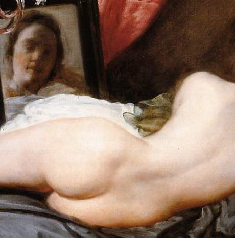 """DIEGO VELAZQUEZ, """"Venus del espejo"""", el clásico de clásicos, con una línea de actualidad que sorprende dado que es una pintura del 1647. Actualmente en la Galería Nacional de Londres, a pesar de ser Velázquez español. El centro del cuadro   es el rostro de Venus en el espejo, pero de inmediato se establece un juego con el centro de las caderas de la diosa."""