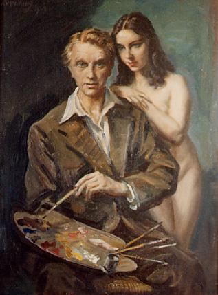 JORGE APPERLEY Y UNA DE SUS MODELOS. Grandes pintores de Andalucía, siglo XX.