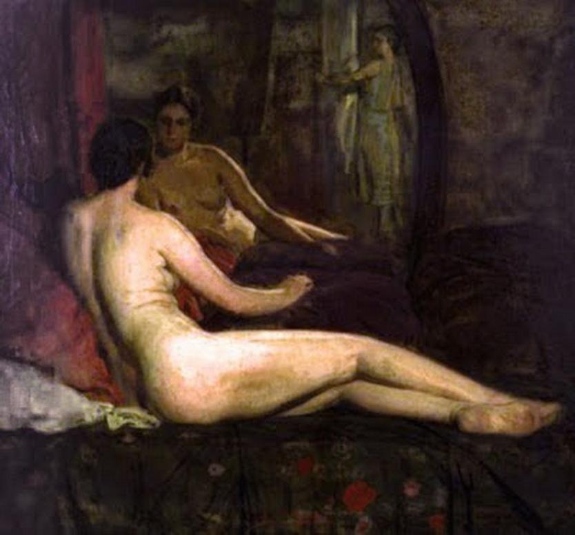 """Pintura de Anselmo Miguel Nieto Valladolid, 1881 1964.""""Desnudo del espejo""""."""