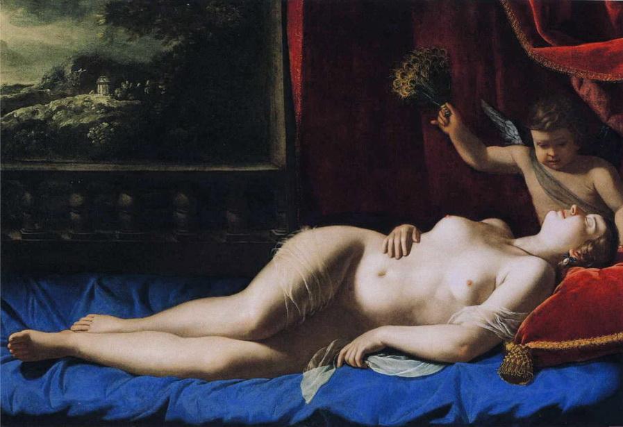 """Pintura de ARTEMISIA GENTILESCHI, una de las más grandes artistas de la historia occidental, posiblemente de las pocas geniales de su época. Pintura """"Venus durmiendo"""", 1625-1630. Italia."""