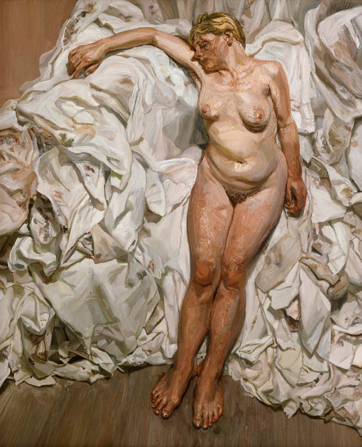"Pintura de LUCIAN FREUD, ""Standing by the Rags"", 1988-9."